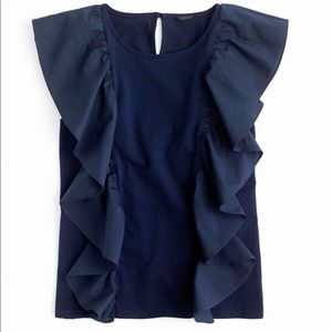 J. Crew Navy Ruffled Sleeveless Top